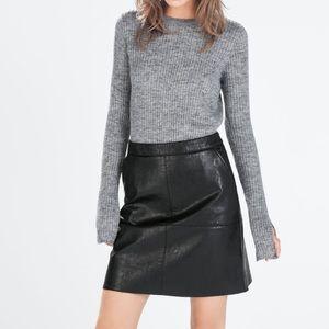 Zara Black Faux Leather Mini Skirt - Size XS